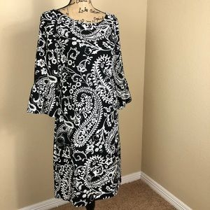 Talbots Black White Paisley Bell Sleeve Dress 6